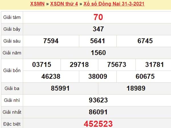 Xem lại kết quả xổ số Đồng Nai 31/3/2021